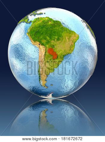 Paraguay On Globe With Reflection