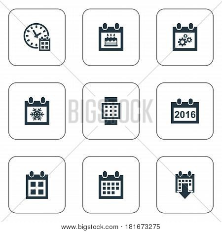 Vector Illustration Set Of Simple Plan Icons. Elements Intelligent Hour, Reminder, Almanac And Other Synonyms Event, Annual And Watch.