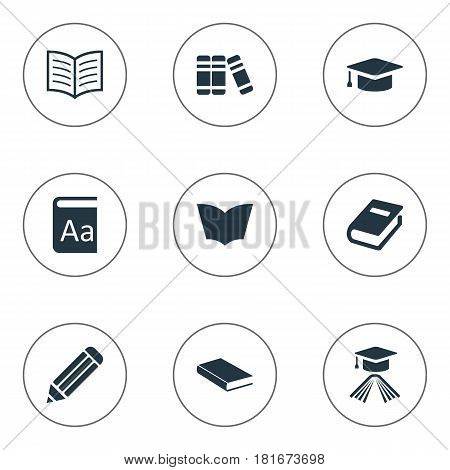 Vector Illustration Set Of Simple Reading Icons. Elements Graduation Hat, Pen, Alphabet And Other Synonyms Literature, Pen And Academic.
