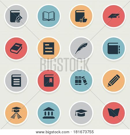 Vector Illustration Set Of Simple Education Icons. Elements Encyclopedia, Library, Book Cover And Other Synonyms Library, Pencil And Page.