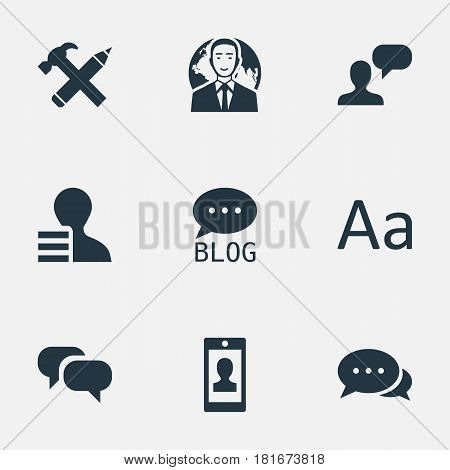 Vector Illustration Set Of Simple Newspaper Icons. Elements Gain, Repair, Man Considering And Other Synonyms Typography, Gain And Smartphone.