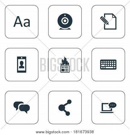 Vector Illustration Set Of Simple User Icons. Elements Laptop, Gazette, Gossip And Other Synonyms Man, Relation And Gossip.