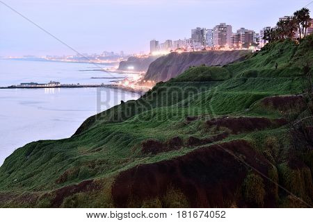 View of the Coastline in Lima from Barranco a district in the south of Lima, Peru
