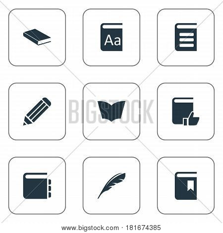 Vector Illustration Set Of Simple Reading Icons. Elements Alphabet, Plume, Recommended Reading And Other Synonyms Journal, Page And Writing.