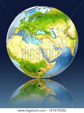 Lebanon On Globe With Reflection