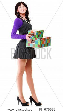 Woman Carrying Moving Boxesyoung Woman Box Isolated