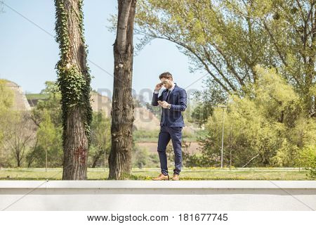 One Young Man, Formal Clothes Suit, Using Phone Sunglasses Day Outdoors Nature Trees Grass Field