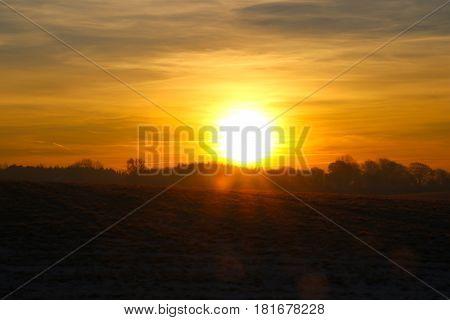 Reddish tinge in the landscape at sunrise so lovely