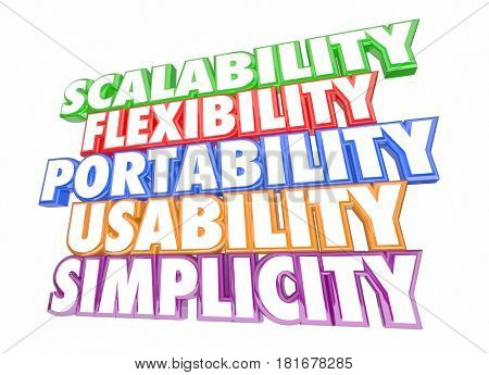 Scalability Usability Flexibility Simplicity Words 3d Illustration