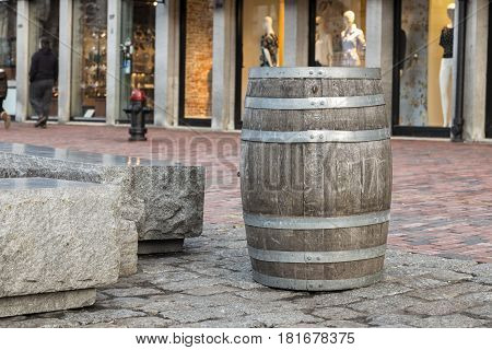 An old barrel in the streets of Boston