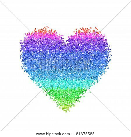 Glitter colorful heart. Cute symbol of Valentines Day. Romantic concept. Love sign. Vector illustration for cards, posters, banners, wedding design invitations. Isolated on white background.