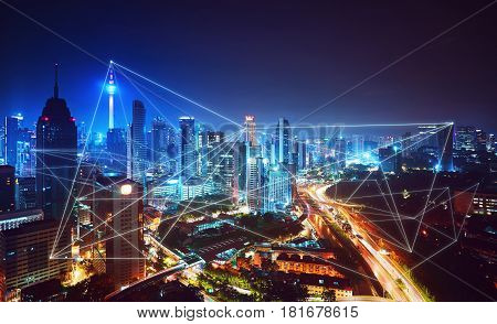 Beautiful city skyline view with network connection concept Kuala lumpur Malaysia.