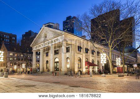 The Quincy Market at Night, Boston, Massachusetts