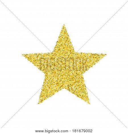 Glitter texture. Golden star. Vector illustration. Isolated on white background.