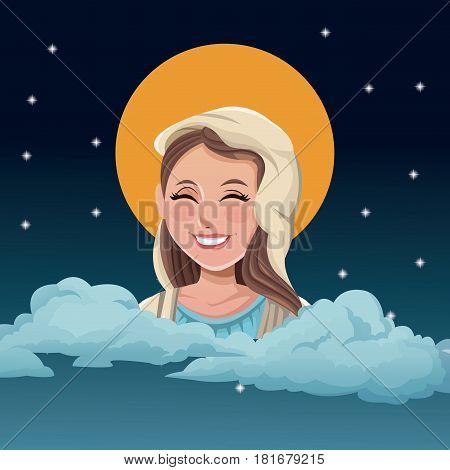 virgin mary blessed night background vector illustration eps 10