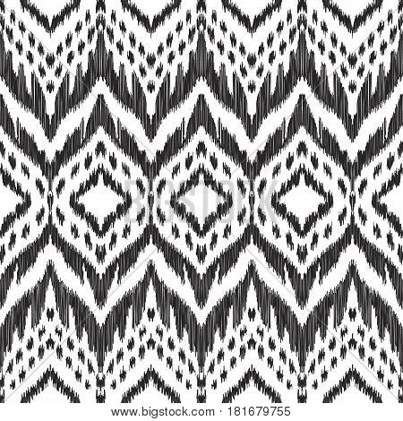 Vector Ikat seamless pattern. Navajo, aztec ornament. Creative hippies print. Black and white colored illustration. American ethnic backdrop.