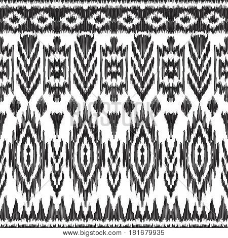 Vector illustration of black and white colored Ikat seamless pattern. Navajo, aztec ornament. Creative hippies print. American ethnic backdrop.