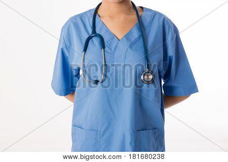 Female Asian Nurse On White Background