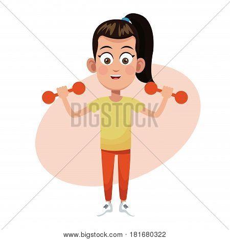 girl weight sport practice vector illustration eps 10