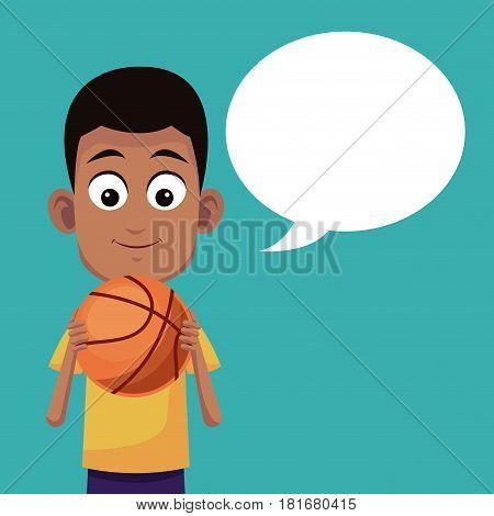 boy basketball sport talking image vector ilustration eps 10