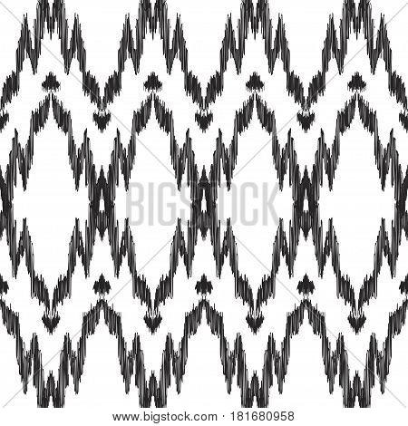 Vector Ikat seamless pattern. Navajo, aztec ornament. Creative hippies print. American ethnic background.