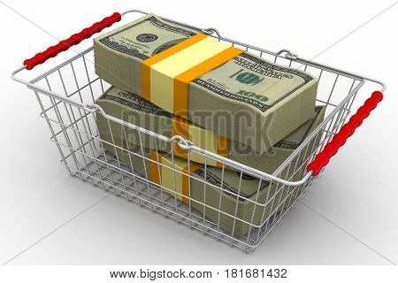 Currency purchase. Stack of packs of 100 dollar American bills tied with a ribbon is in the shopping basket. Isolated. 3D Illustration