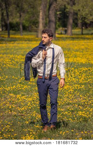 One Young Man, Walking Outdoors Flowers Field, Suit Formal Clothes