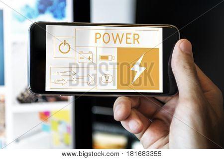 Illustration of energy saving sustainability power generation on mobile phone