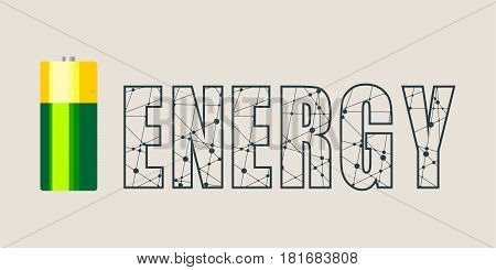 Vector illustration of cylinder battery. Energy word