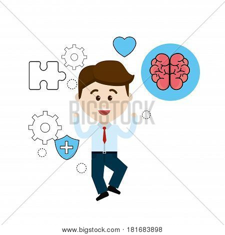 mental health person with tips care brain, vector illustration