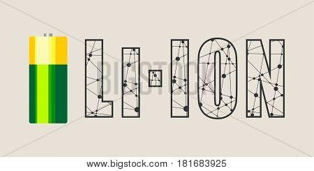 Vector illustration of cylinder battery. Li Ion text