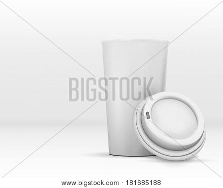 Illustration of Vector Coffee Cup Isolated on White. Photorealistic Open Coffee Takeaway Cup Mockup