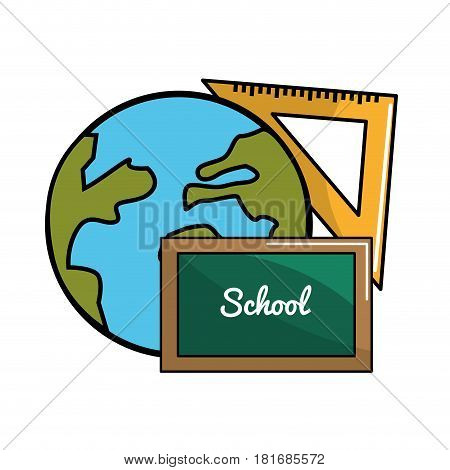 global planet with boad and triangle rule, vector illustration