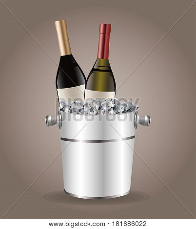 bottle wine cooler ice drink image vector illustration eps 10