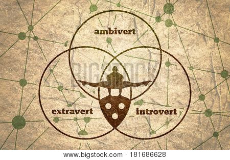 Extravert, introvert and ambivert metaphor. Image relative to human psychology. Silhouette of the balancing man. Communication Background. Connected lines with dots. Concrete grunge texture