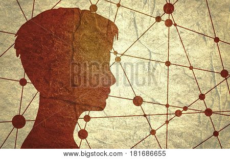 Silhouette of a woman's head. Mental health relative brochure, report or flyer design template. Scientific design. Communication Background. Connected lines with dots. Concrete textured
