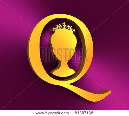 Vintage queen silhouette. Medieval queen front view . Elegant silhouette of a female head. Short hair. Royal emblem with Q letter. 3D rendering. Metallic material