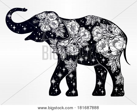 Beautiful silhouette of Indian elephant with wild rose flowers and star ornaments. Isolated vector ethnic background, tattoo art, yoga, spirituality, boho design for print, posters, t-shirts textiles.