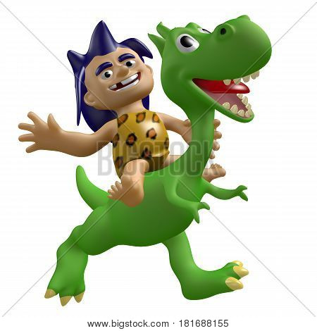 Funny savage boy rides on a cute dinosaur. 3D illustration. Cartoon cheerful characters.