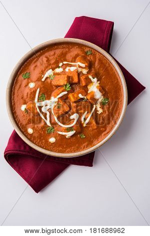 paneer butter masala or cheese cottage curry, popular indian lunch/dinner menu in weddings or parties, selective focus