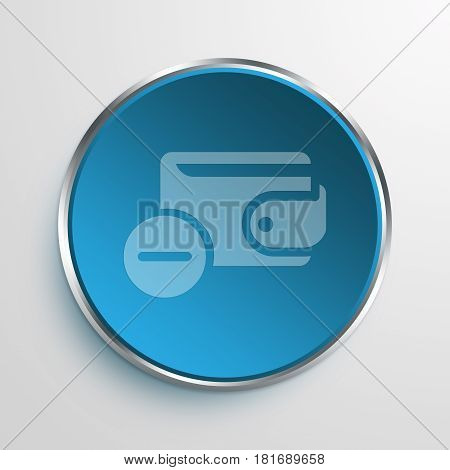 Blue Sign Minus wallet Symbol icon Business Concept