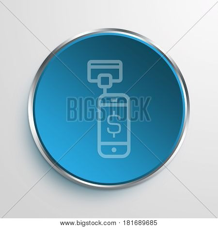 Blue Sign Mobile Card Reader Symbol icon Business Concept