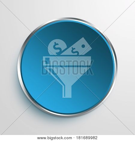 Blue Sign Money Filter Symbol icon Business Concept
