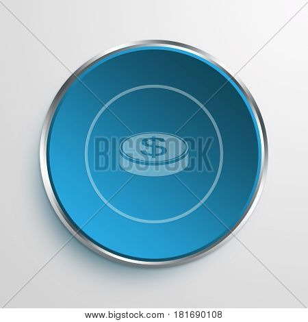 Blue Sign Money Symbol icon Business Concept