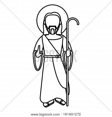 jesus christ blessed with stick outline vector illustration eps 10