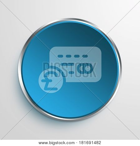Blue Sign Pound card Symbol icon Business Concept