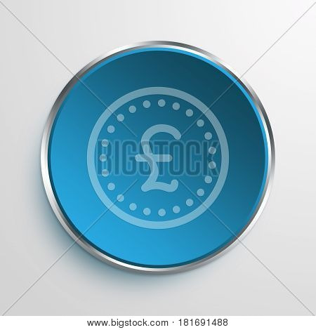 Blue Sign Pound coin Symbol icon Business Concept