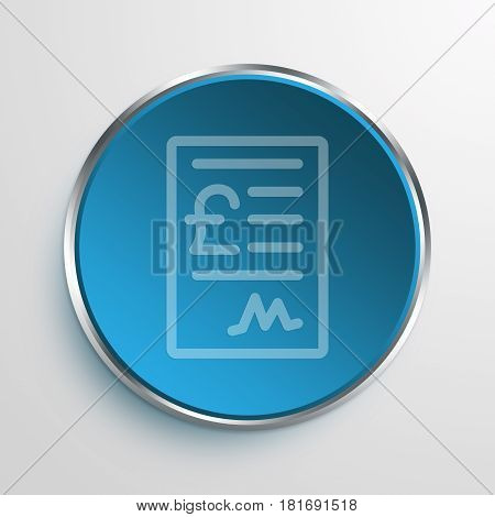 Blue Sign Pound Receipt Symbol icon Business Concept