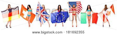 Collage flags of the world. Beautiful sexy models with flags, isolated on white background