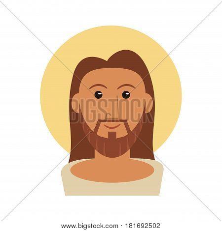 portrait jesus christ catholicism image vector illustration eps 10